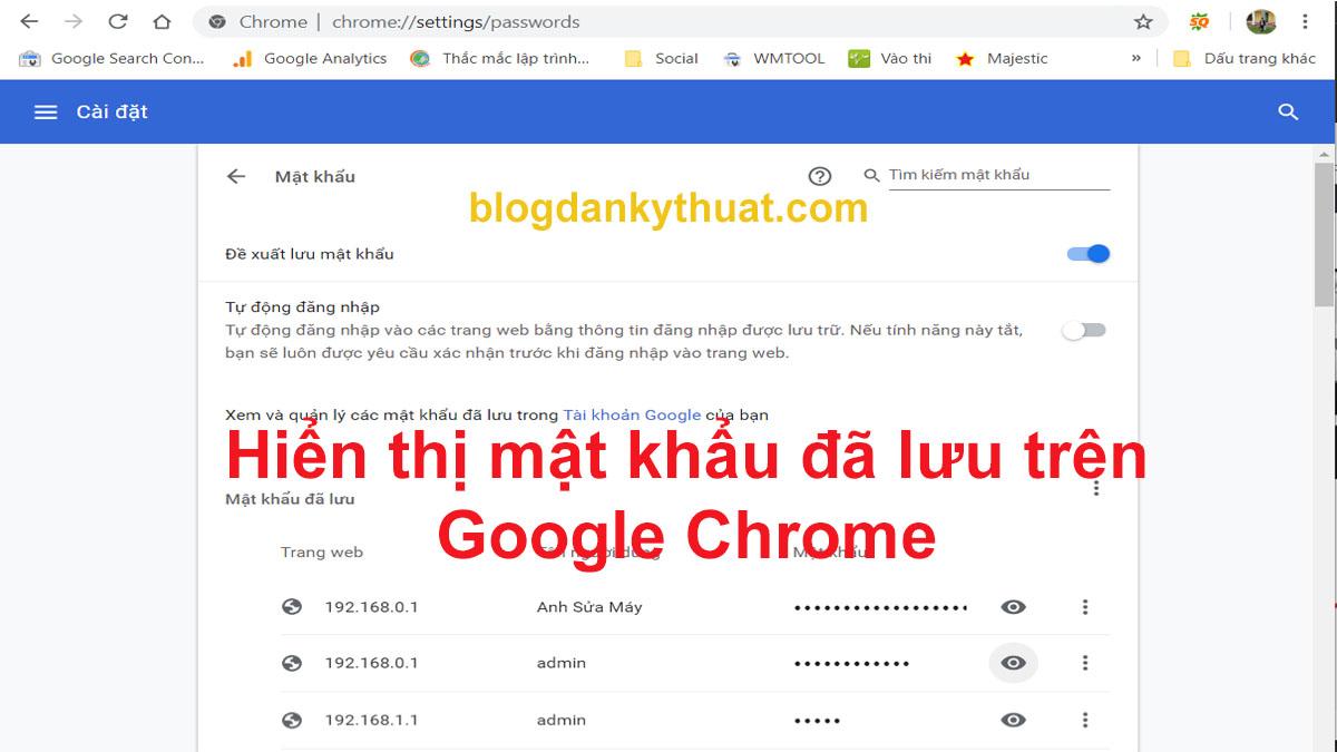 Hiển thị mật khẩu đã lưu trên Google Chrome