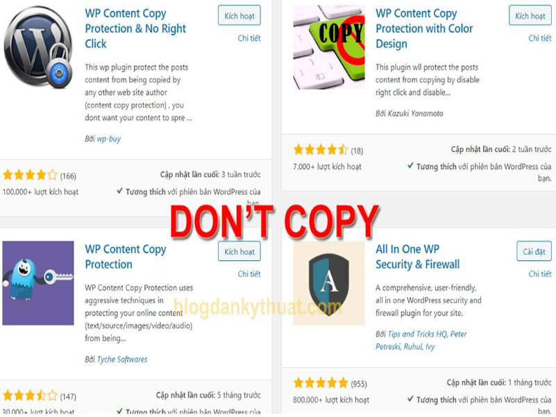 chống copy trên Word Press