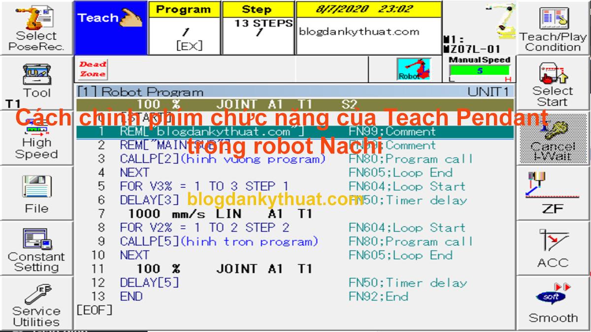 Cách chỉnh phím chức năng của Teach Pendant trong robot Nachi